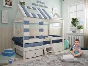"""Кровать - домик """"Eco House"""" из массива бука в синем цвете для мальчика"""