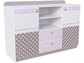"""Детский двухдверный комод широкий с двумя ящиками в комнату девочки из коллекции """"Mon Coure"""""""