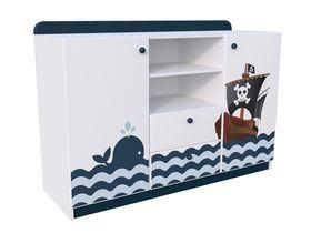 """Детский комод широкий двухдверный с двумя ящиками в комнату мальчика из коллекции """"Морская"""""""