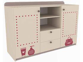 """Детский двухдверный комод широкий с двумя ящиками в комнату девочки из коллекции """"Сиена"""""""