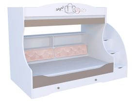 """Детская двухъярусная кровать """"Парижанка розовая"""" под матрас 80-190 с комодом, тумбой - ступеньками и мягкой спинкой на нижнем ярусе"""