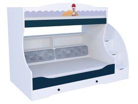 """Детская двухъярусная кровать """"Морская"""" под матрас 80 на 190 с комодом, тумбой - ступеньками и мягкой спинкой на нижнем ярусе"""