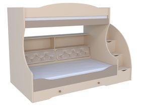 """Детская двухъярусная кровать """"Сиена"""" под матрас 80*190 с комодом, тумбой - ступеньками и мягкой спинкой на нижнем ярусе"""
